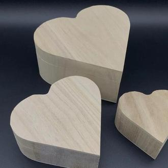 Шкатулка Сердце заготовка из дерева для декупажа и творчества 90х85х50 мм