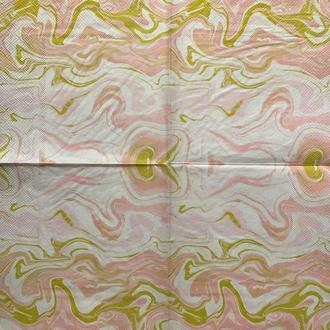 """Салфетка декупажная 33x33 см 12 """"Узор орнамент золото розовый белый мрамор"""" Серветка для декупажу"""