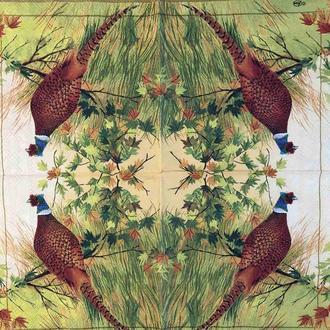 "Салфетка декупажная 33x33 см 7 ""Цесарка охота Природа Птицы Трава Осень зелень"" Серветка для декупажу"