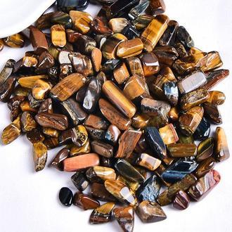 Натуральный камень крошка Тигровый Глаз 6-15 мм 10 грамм Камни Декор. Камінь крихта коричневий Тигряче око