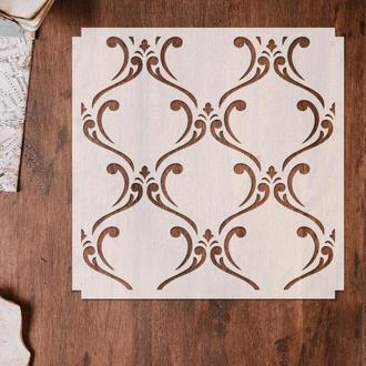 Трафарет многоразовый 13 штамп теснение на стены шаблон УЗОР для альбомов для скрапбукинга 160*150 мм
