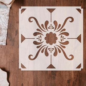 Трафарет многоразовый 17 штамп теснение на стены шаблон УЗОР для альбомов для скрапбукинга 150*150 мм