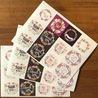 Этикетки наклейки цветы Thank you 12 штук 3 см круглые для скрапбукинга, творчества, кардмейкинга, декупажа