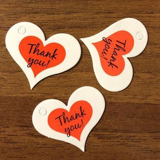 Элемент для скрапбукинга стикер подвеска наклейка 40 мм картон 8 шт сердце Thank you с отверстием для веревки