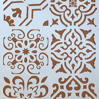 Трафарет многоразовый пластик 56 теснение штамп на стены шаблон Узоры разные для скрапбукинга 290*200 мм