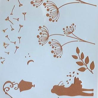 Трафарет многоразовый пластик 63 теснение штамп на стены шаблон Романтика Любовь для скрапбукинга 290*200 мм