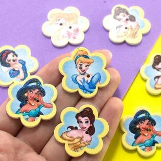 Пуговицы из дерева 30 мм Принцессы   Цвет - Микс   1 шт    для детского творчества, скрапбукинга