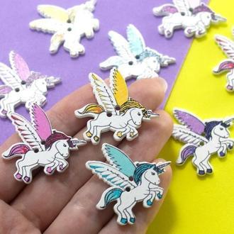 Пуговицы из дерева 30 мм Единорожки с крыльями  Цвет - Микс   1 шт    для детского творчества, скрапбукинга