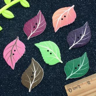 Пуговицы из дерева 35*22 мм Листочек  Цвет - Микс   1 шт    для детского творчества, скрапбукинга