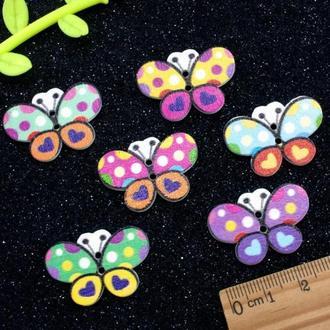 Пуговицы из дерева 30*20 мм Бабочки Цвет - Микс   1 шт    для детского творчества, скрапбукинга