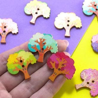 Пуговицы из дерева 27*27 мм Деревья Цвет - Микс   1 шт    для детского творчества, скрапбукинга