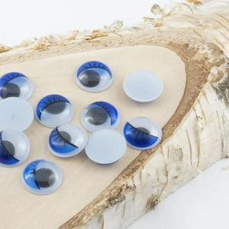 Глазки для игрушек круглые синие с ресничками 10 мм 10 шт