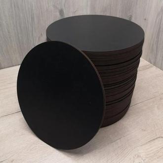 Подставка заготовка подложка круглая ДВП 90 мм для творчества, декупажа под горячее черная с одной стороны