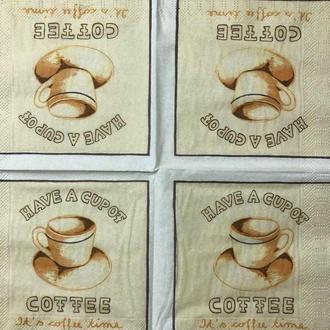 """Салфетка декупажная 25x25 см 13 """" Чашка кофе на бежевом фоне"""" Серветка для декупажу"""