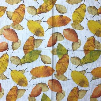 """Салфетка декупажная 33x33 см 23 """" Осень листья """" Серветка для декупажу"""