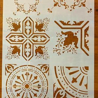Трафарет многоразовый пластик 69 теснение штамп на стены шаблон Узоры для дома для скрапбукинга 290*200 мм