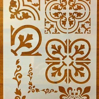 Трафарет многоразовый пластик 72 теснение штамп на стены шаблон Узоры для дома для скрапбукинга 290*200 мм