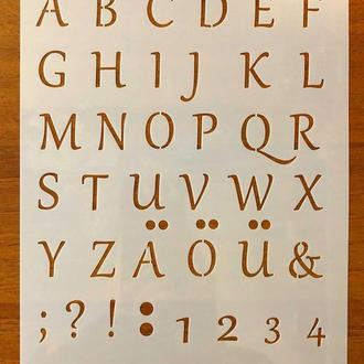 Трафарет многоразовый пластик 202 теснение штамп на стены шаблон Буквы Цифры для дома скрапбукинга 260*180 мм