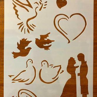 Трафарет многоразовый пластик 204 теснение штамп на стены шаблон Свадьба для дома скрапбукинга 260*180 мм