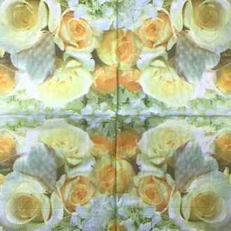 """Салфетки для декупажа 25x25 см 5 """" Нежные розы """" салфетка декупажная. Серветка для декупажу"""