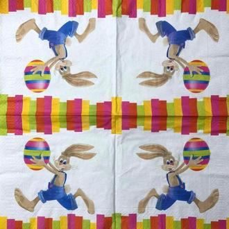 """Салфетки для декупажа 33x33 см 6 """" Пасхальный кролик с яйцом """" салфетка декупажная"""
