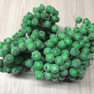 2 шт ягодки сахарные зеленые с обеих сторон на проволоке тычинки 10 мм для декорирования флористики рукоделия