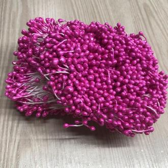 Розовые яркие тычинки на белой нитке (1 уп.=100 тычинок)  для творчества флористики декорирования