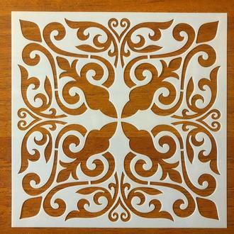 Трафарет многоразовый 308 штамп теснение на стены шаблон УЗОР цветок для альбомов для скрапбукинга 150*150 мм