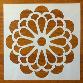 Трафарет многоразовый 312 штамп теснение на стены шаблон УЗОР цветок для альбомов для скрапбукинга 150*150 мм