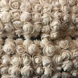 Розочка из фоамирана 2 бежевая молочная с фатином для флористики декорирования и творчества 20 мм