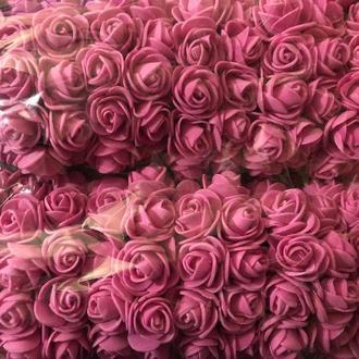Розочка из фоамирана 7 розовая для флористики декорирования и творчества 20 мм на проволоке