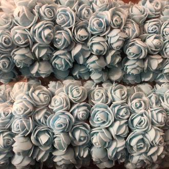Розочка из фоамирана 9 голубая для флористики декорирования и творчества 20 мм на проволоке