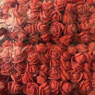Розочка из фоамирана 11 красная для флористики декорирования и творчества 20 мм на проволоке