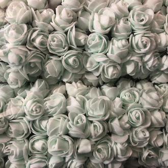 Розочка из фоамирана 13 мятная для флористики декорирования и творчества 20 мм на проволоке