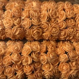 Розочка из фоамирана 15 оранжевая для флористики декорирования и творчества 20 мм на проволоке