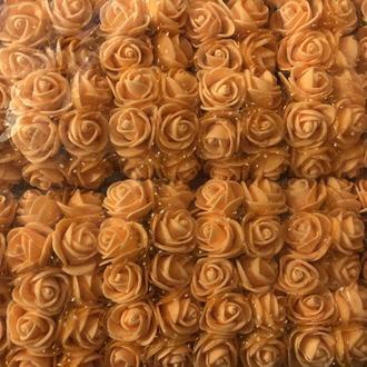 Розочка из фоамирана 16 оранжевая с фатином для флористики декорирования и творчества 20 мм на проволоке