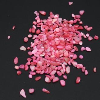Натуральный перламутр крошка розовый скол ракушка 2-8 мм (10 грамм) для декора в аквариум