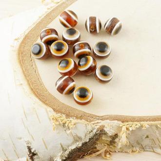 Бусина турецкий глаз пластик 8 мм коричневая