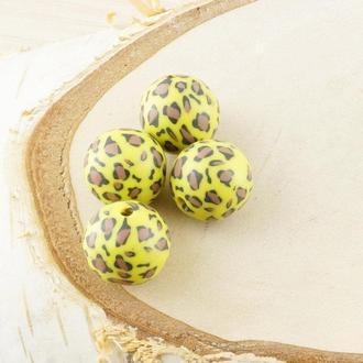 Бусина из полимерной глины 20 мм желто-леопардовая