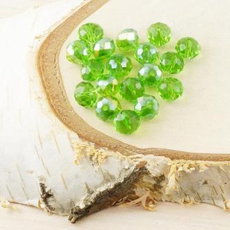 Бусина рондель стекло зеленый (10 шт) 8 мм