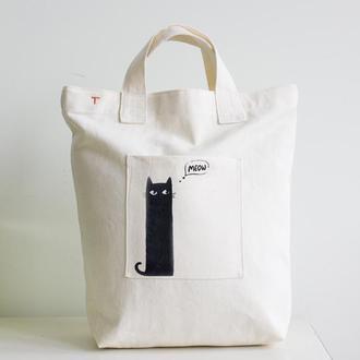 Эко сумка, шоппер для города и покупок из Прочной, плотной Саржи 100% с рисунком Черный Кот