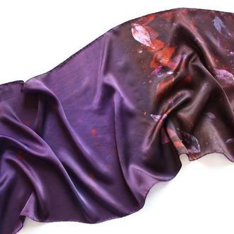 Фиолетовый шелковый шарф авторской росписи, бордовый женский длинный шарф, батик палантин