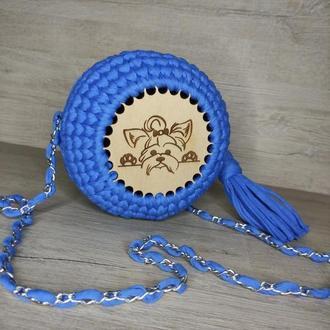 Детская синяя круглая сумка. Трикотажная вязаная синяя сумка.