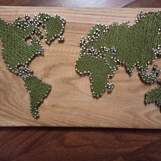 Карта мира string art
