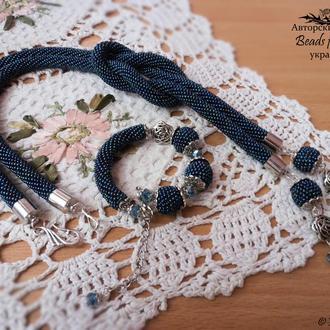 Комплект ′Бисерные фантазии′ -2 (жгут-лариат, браслет и серьги)