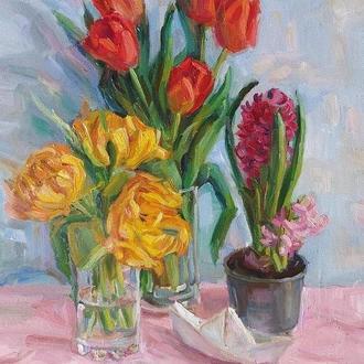 Картина олійними фарбами натюрморт з квітами
