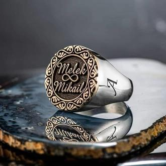 Серебряная печатка кольцо с гравировкой ручной работы именная с чернением