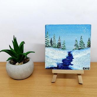 Миниатюра маслом речка, Зимний пейзаж маслом, Речка картина маслом, Авторская живопись