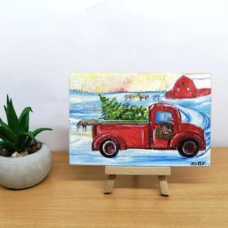 Миниатюра маслом красная машина с ёлкой, Маленькая картина, Зимний пейзаж маслом, Зима картина