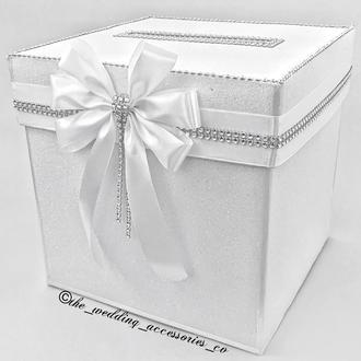 Свадебная глітерна шкатулка для конвертов белого цвета💌📨